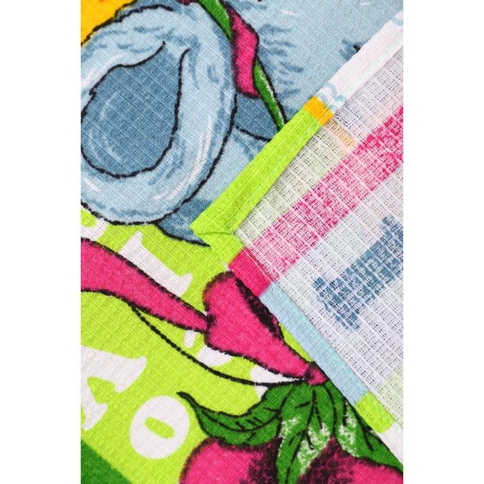 Набор полотенец вафельных Мыши Лето 40х60 см 4 шт (пакет), зеленый, хлопок 100%, 170 гр/м3