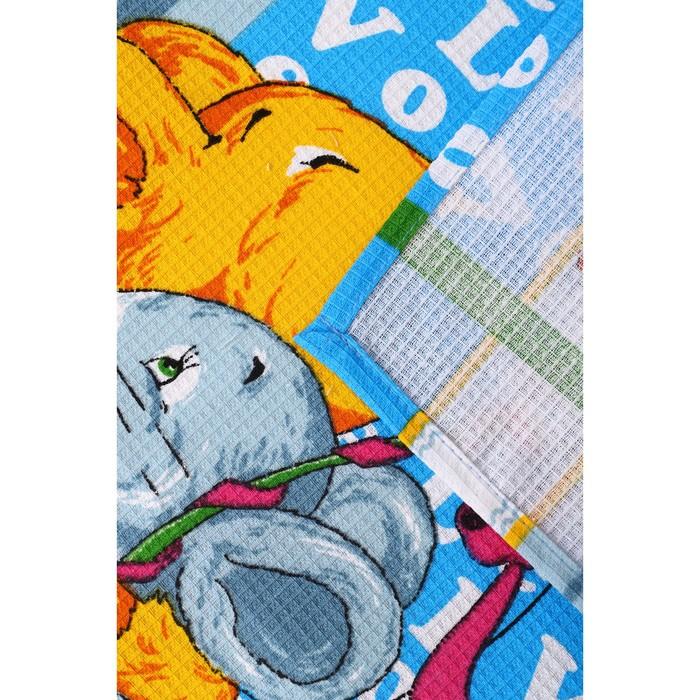 Набор полотенец вафельных Мыши Лето 40х60 см 4 шт (пакет), голубой, хлопок 100%, 170 гр/м2
