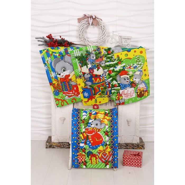 Набор полотенец вафельных Мыши Зима 40х60 см 4 шт (кор), зеленый, хлопок 100%, 170 гр/м6