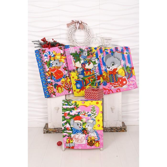 Набор полотенец вафельных Мыши Зима 40х60 см 4 шт (кор), розовый, хлопок 100%, 170 гр/м7