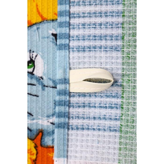 Набор полотенец вафельных Мыши Лето 40х60 см 4 шт (кор), голубой, хлопок 100%, 170 гр/м2