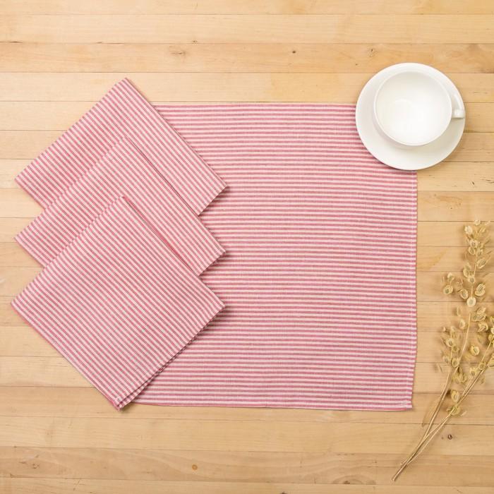 Набор салфеток Доляна 40х40см 4шт, Розовые полоски, 100%пэ, рогожка 200 гр/м