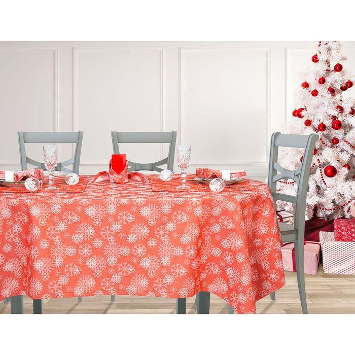 """Столовый набор """"Этель"""" Снежинки красные скатерть 110х160 см, салф. 40х40 см - 4 шт, хл.100%, ВМГО"""