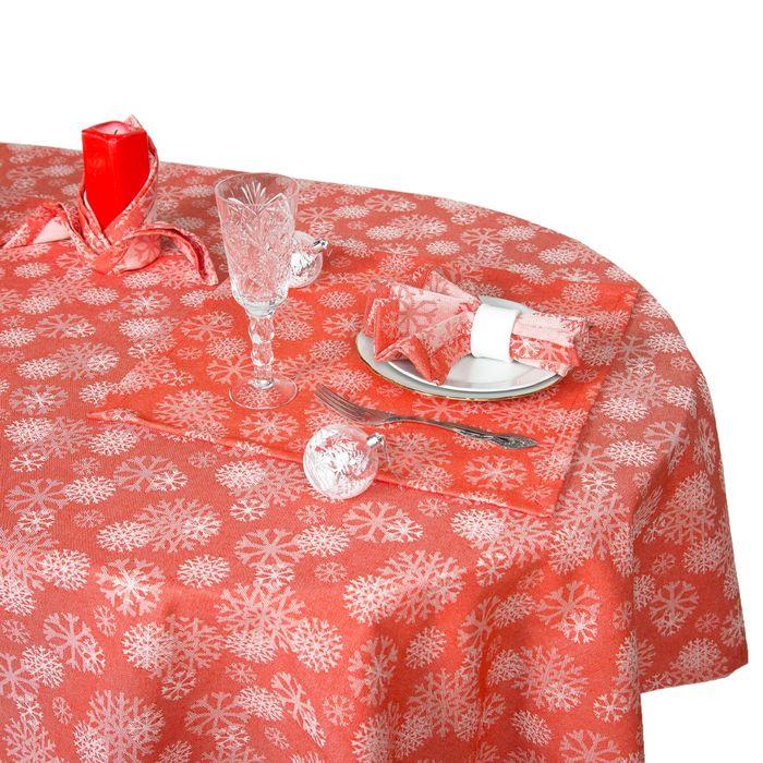 """Столовый набор """"Этель"""" Снежинки красные скатерть 150х150 см, салф. 40х40 см - 6 шт, хл.100%, ВМГО"""