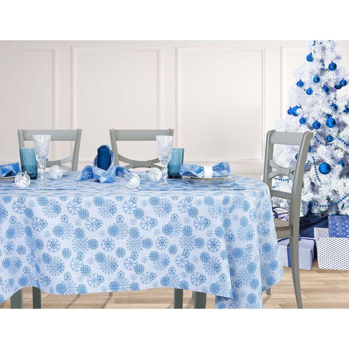 """Столовый набор """"Этель"""" Снежинки синие скатерть 150х180 см, салф. 40х40 см - 8 шт, хл.100%, ВМГО"""