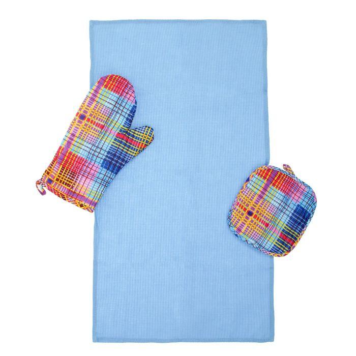 Набор для кухни (рукавичка- прихватка, прихватка, полотенце) Дачный пикник, бязь 125г/м, хл100%   22
