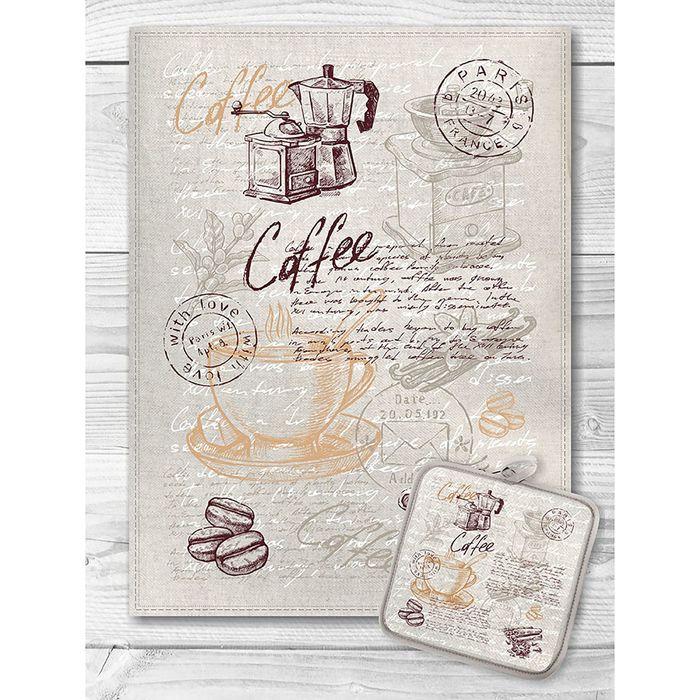 Кухонный набор Кофейная тема (полотенце 45х60+прихватка 18х18) полулен, 160г/м