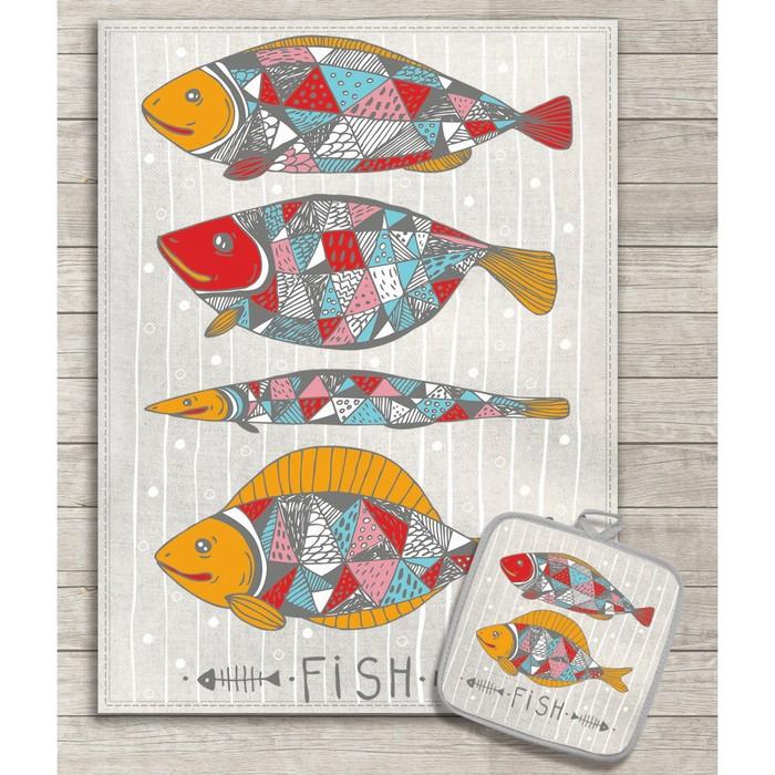 Кухонный набор Рыбы (полотенце 45х60+прихватка 18х18) полулён