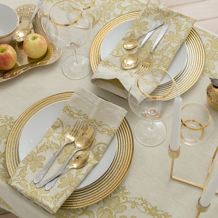 Столовый набор «Этель», скатерть 150 × 150 см, салфетки 45 × 45 см, 4 шт., цвет золотой, 100%-ный хлопок с ВМГО