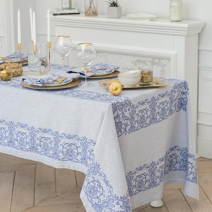 """Столовый набор """"Этель"""" (скатерть 150х250 см, салфетки 45х45 см - 8 шт.) цвет синий, хл. с ВМГО"""