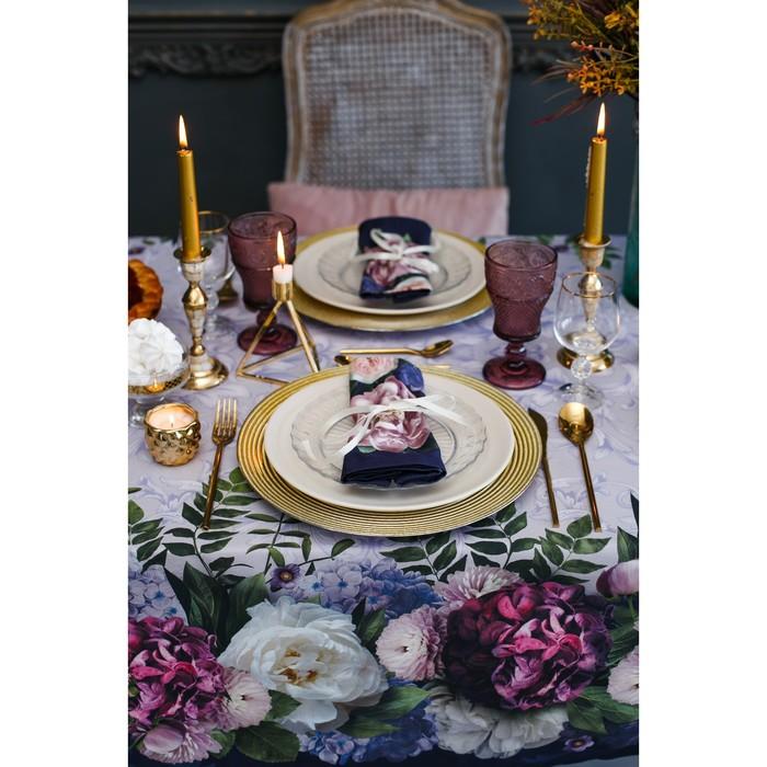 Набор столовый «Этель» «Цветочный этюд», скатерть 110 × 150 см, салфетки 40 × 40 см, 4 шт., хлопок 100 %