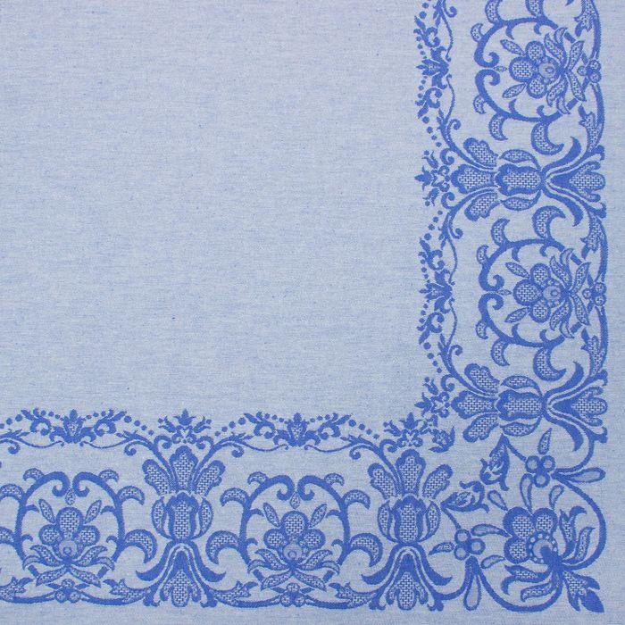 """Столовый набор """"Этель"""" (скатерть 150х300 см, салфетки 45х45 см - 12 шт.) цвет синий, хл. с ВМГО"""
