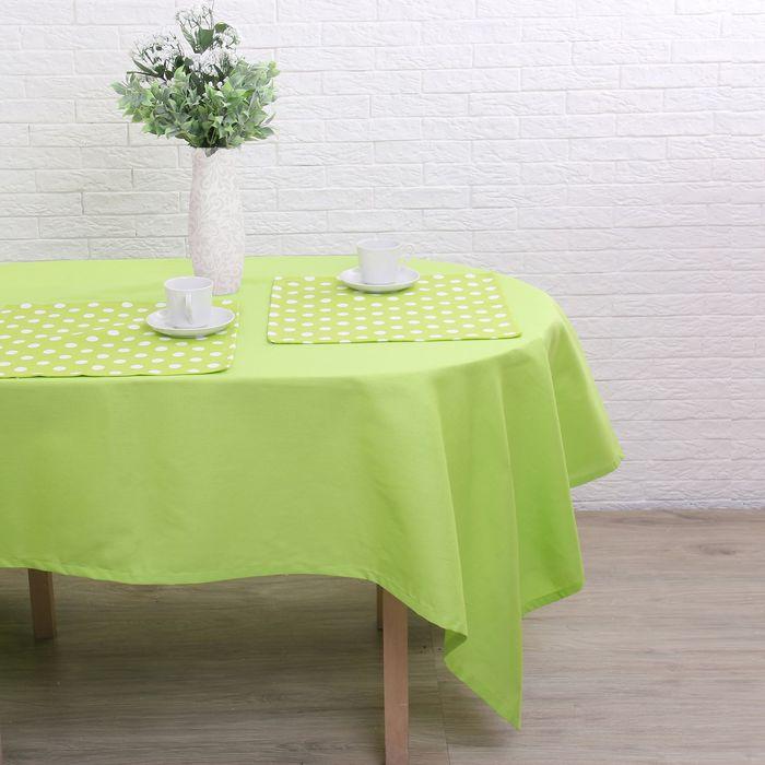 """Набор столовый """"Этель"""" Зелёное яблоко скатерть 150х300 см, салфетка 40х40 см 12 шт., рогожка"""