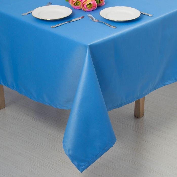 """Скатерть """"Этель"""" однотонная150*250, цв.голубой, пл. 192 г/м2, хл с ГМО"""