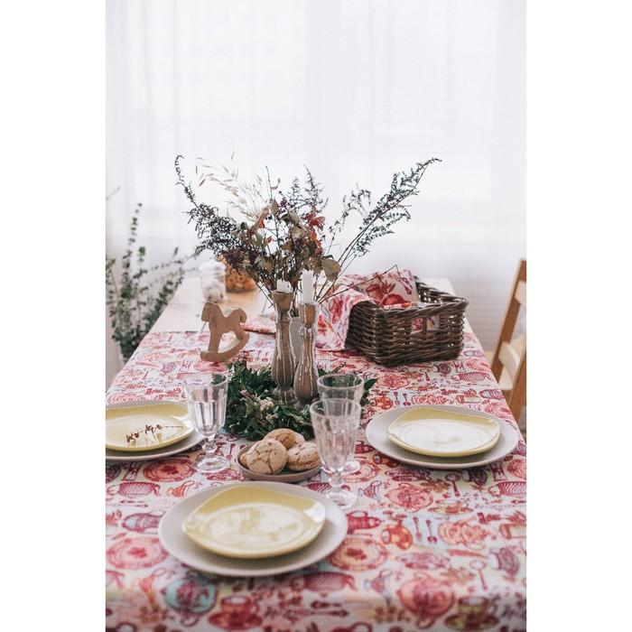 """Скатерть """"Доляна"""" Чайные традиции 145х180 см, 100% хлопок, вафельное полотно162 г/м2"""