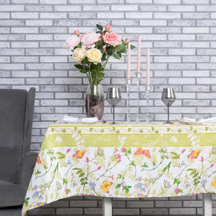 """Скатерть """"Доляна"""" Полевые цветы 180*144 см, 100% хлопок, рогожка, 164 г/м2"""