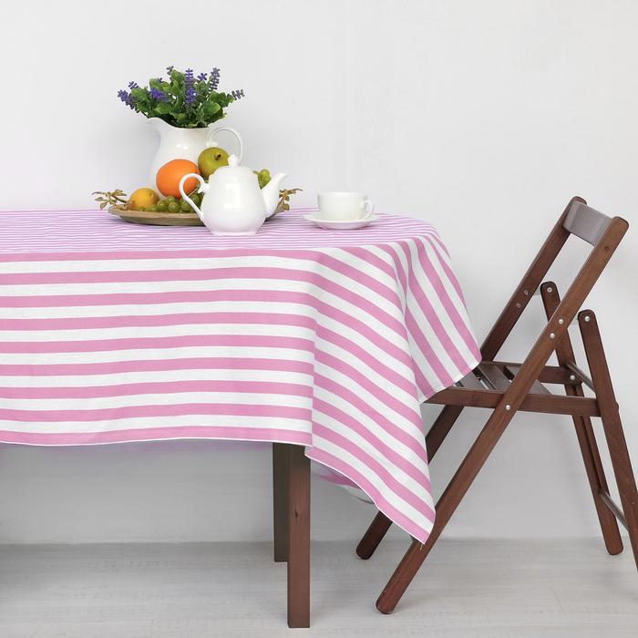 """Скатерть """"Этель"""" Розовая полоска 150х300 см, рогожка,160 гр/м2"""