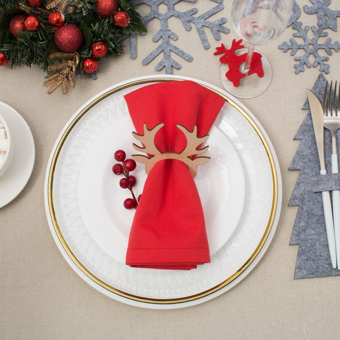 """Кольцо для салфетки """"Рождественский олень"""" 9х10 см, дерево"""