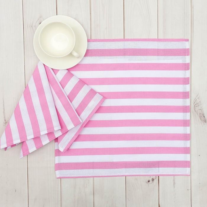 """Набор салфеток """"Этель"""" Розовая полоска 40х40 см - 4 шт, рогожка,160 гр/м2"""