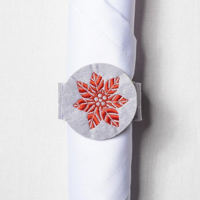 """Набор салфетка, конверт для с/п, кольцо """"Пуансетия"""" с вышивкой, 100 %п/э, фетр"""