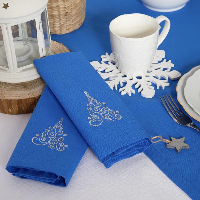 "Набор салфеток ""Этель"" Волшебная ёлка, 40х40 цвет синий, 2 шт, с ВМГО хл, 200 гр/м²"