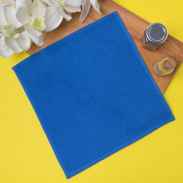Салфетка махровая 30х30 см, синий, хлопок 100%, 380 гр/м2