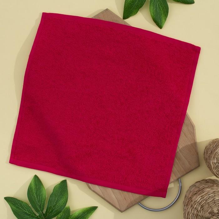 Салфетка махровая, 30х30 см, цвет брусника