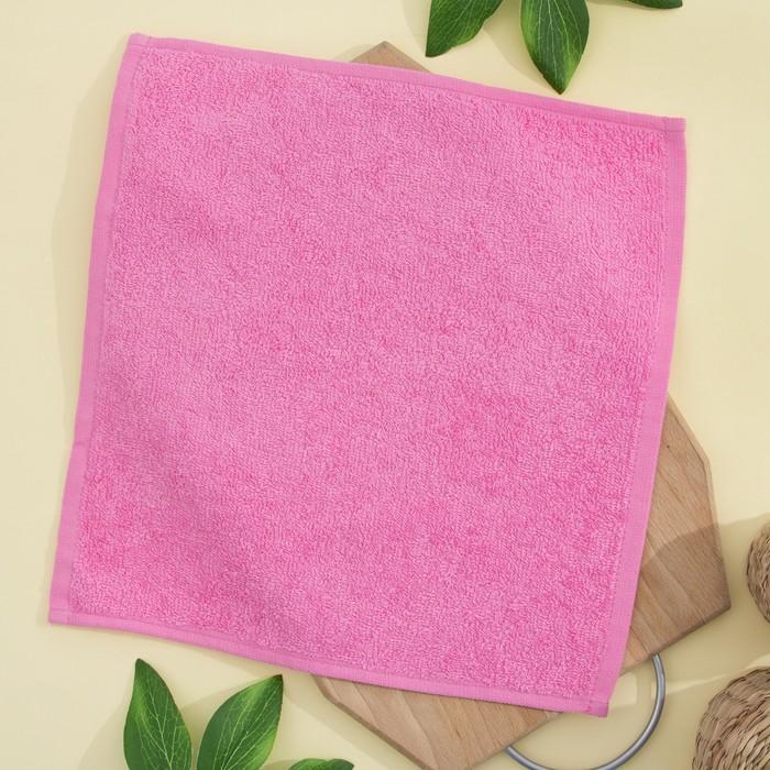 Салфетка махровая 30х30 см, цвет ярко-розовый, пл. 380 гр/м2, 100% хлопок