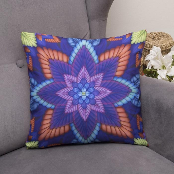 Подушка декоративная Радужный цветок, 40х40см, габардин, синтетич. волокно, 160 гр/м