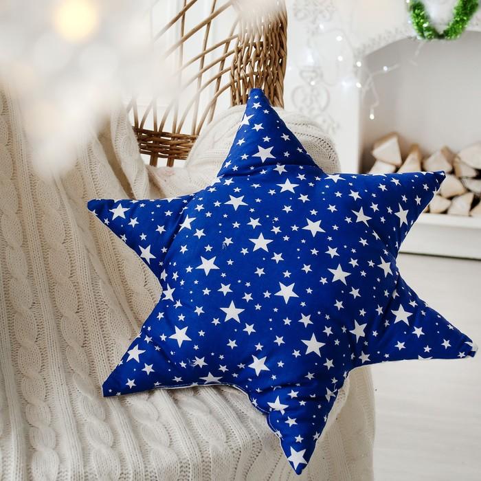 Подушка декоративная звезда Звездопад 50х50 см, синий, хлопок 100%