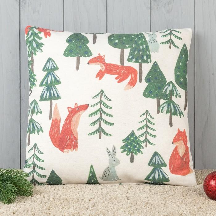 Подушка декоративная с фотопечатью Лисички в лесу 40х40 см, хлопок 34%, полиэфир 66%