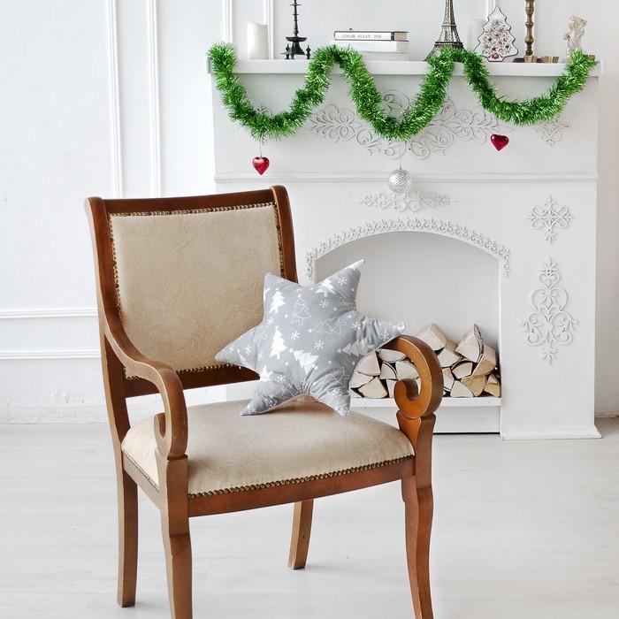 Подушка декоративная звезда Ёлочки серый 50х50 см, хлопок 100%