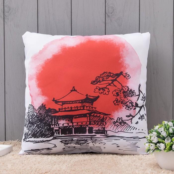 Подушка интерьерная Япония, 40х40 см, габардин, синт. волокно, п/э 100%, 160 г/м2