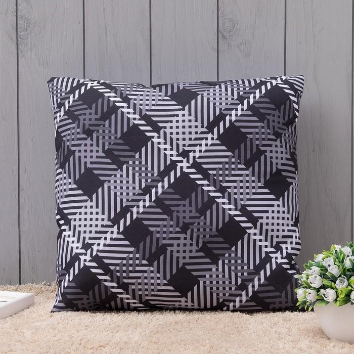 Подушка интерьерная Черно-белое 40х40 см, габардин, синт. волокно, п/э 100%, 160 г/м2