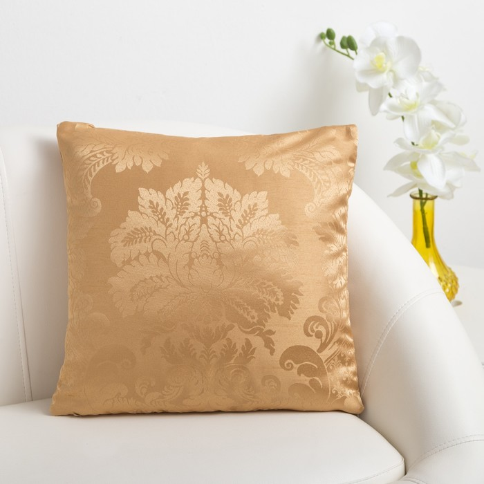 Декоративная подушка «Этель» 40×40 см Дамаск AMBER, 100% п/э
