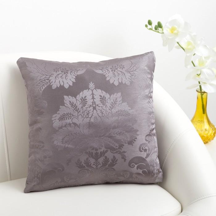 Декоративная подушка «Этель» 40×40 см Дамаск PEWTER, 100% п/э