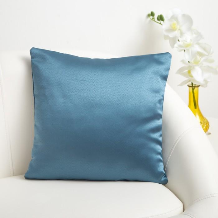 Декоративная подушка «Этель» 40×40 см Дамаск TEAL SOLID, 100% п/э