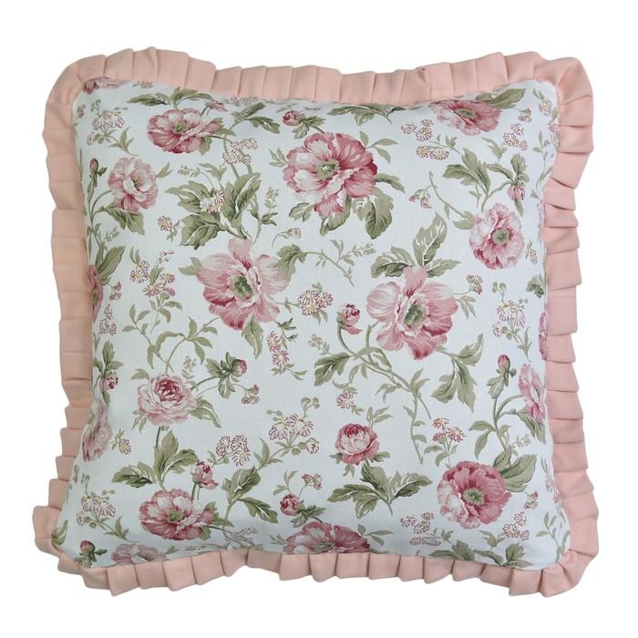 Набор подушек English rose с рюшей, размер 45х45 см-2 шт., розовый