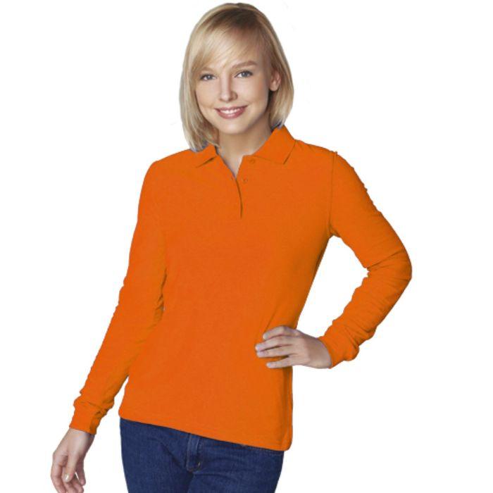 Рубашка-поло женская StanPolo, размер 44, цвет оранжевый 185 г/м