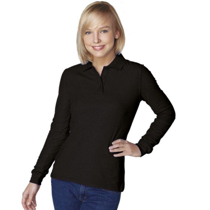 Рубашка-поло женская StanPolo, размер 42, цвет чёрный 185 г/м