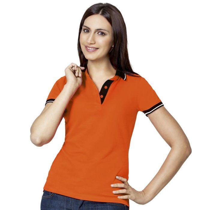 Рубашка-поло женская StanContrast, размер 50, цвет оранжевый 185 г/м