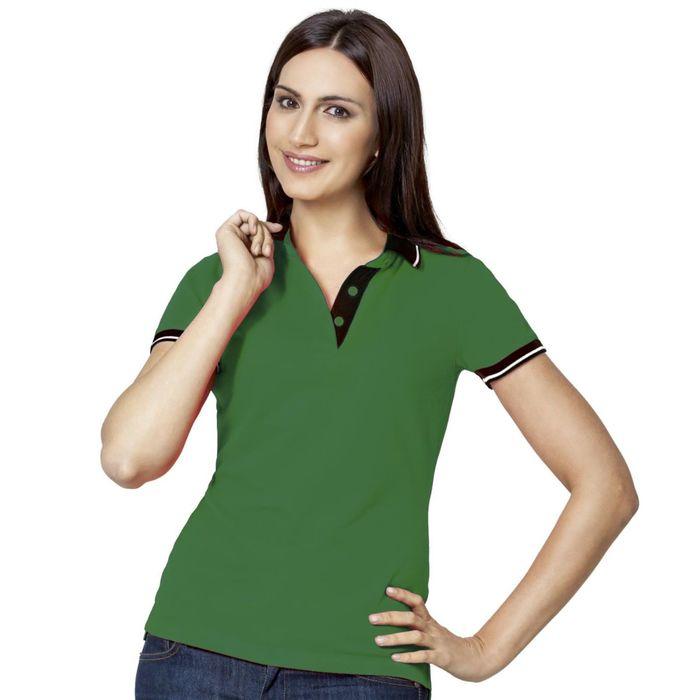 Рубашка-поло женская StanContrast, размер 52, цвет зелёный 185 г/м