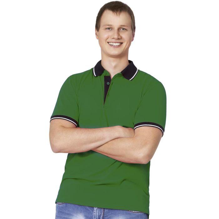 Рубашка-поло мужская StanContrast, размер 48, цвет зелёный 185 г/м