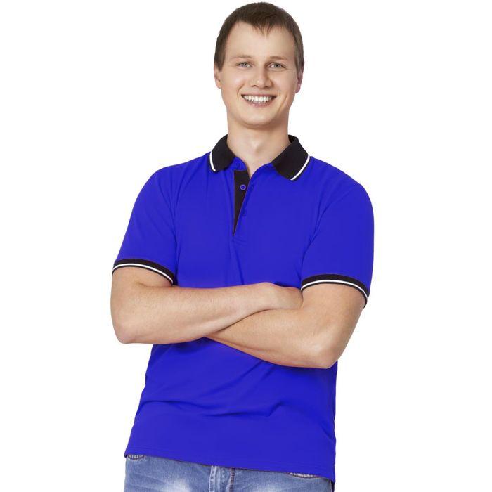 Рубашка-поло мужская StanContrast, размер 54, цвет синий 185 г/м