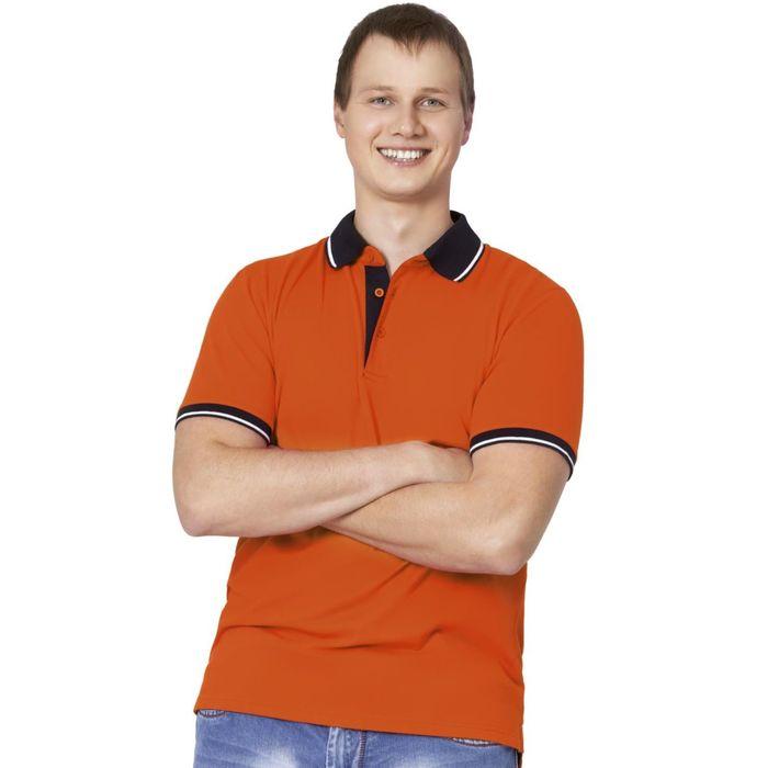 Рубашка-поло мужская StanContrast, размер 48, цвет оранжевый 185 г/м