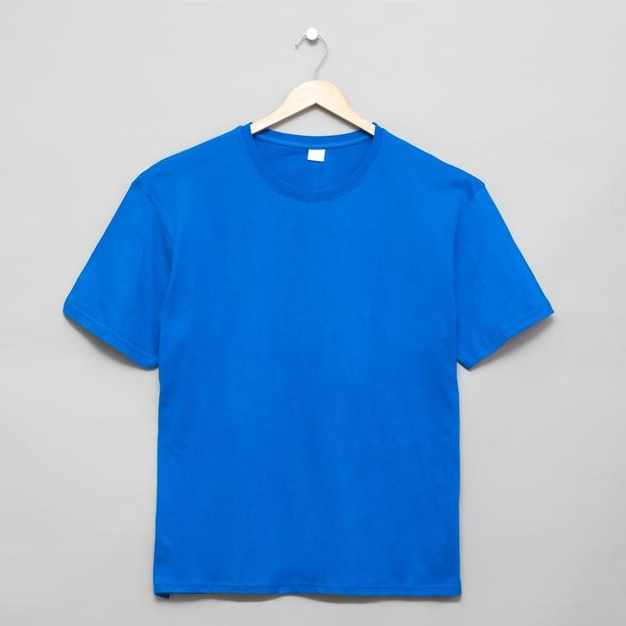 Футболка мужская, цвет васильковый, р-р 48