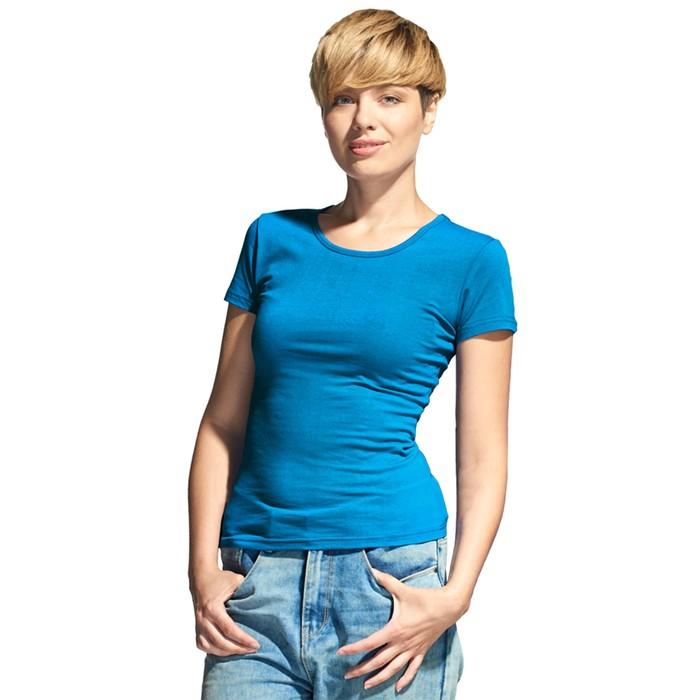 Футболка женская StanSlim, размер 48, цвет лазурный 180 г/м