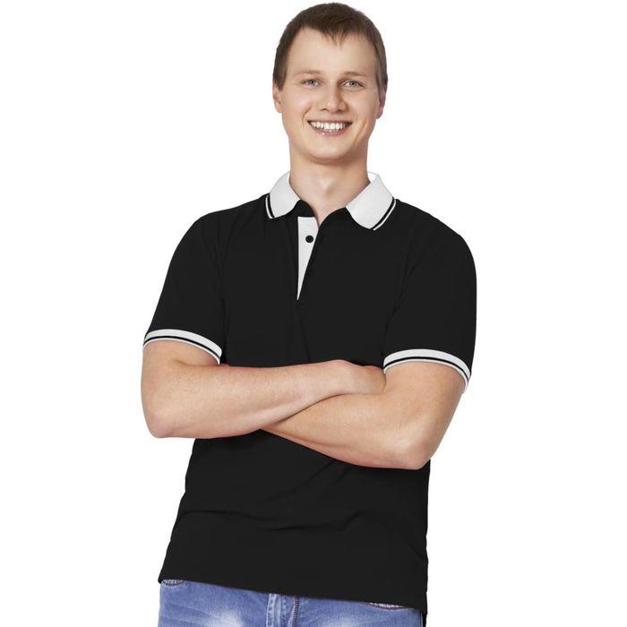 Рубашка-поло мужская StanContrast, размер 54, цвет чёрный 185 г/м