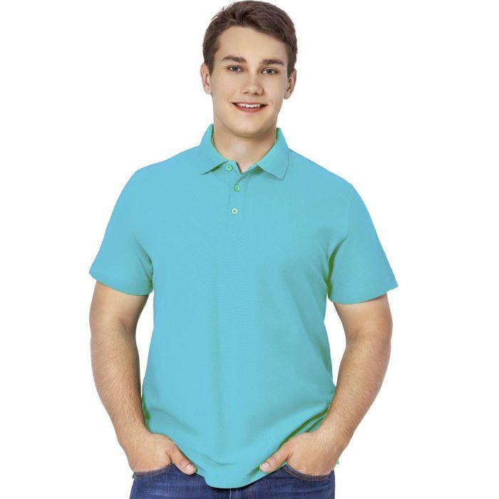 Рубашка-поло мужская StanPremier, размер 48, цвет бирюзовый 185 г/м