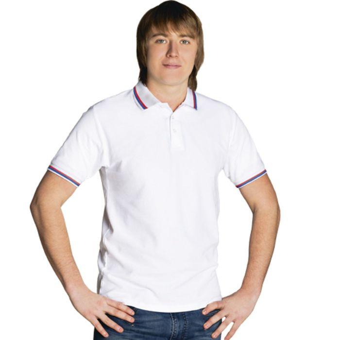 Рубашка-поло мужская StanRussian, размер 48, цвет белый 185 г/м